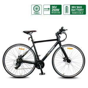 700C Wheel specialized Best lightest Road E Bike for sale (A6-R White)(36V 250W)