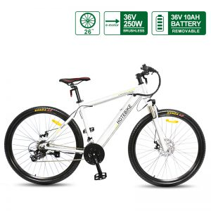 EUR Fast Delivery HOTEBIKE White Alloy Frame 26″ Mountain Ebike A6AH26