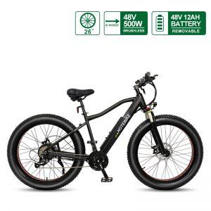 26 Inch Fat Bike for Sale Shock-Absorbing Fat Tire Electric Bike 48V 500W Fat Bike Electric A6AH26F