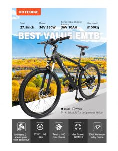 HOTEBIKE 27.5 Inch 36V Mountain Electrical Bike 160 Disc Brakes Front Suspension, Cruise Management 350W Electrical Bikes for Adults with Detachable Battery, Recharge System, 21-Velocity Gear