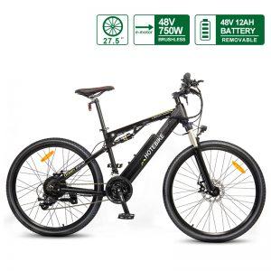 27.5″ E-Bike Full Suspension Electric Moutain Bike 48V 750W with 48V Battery