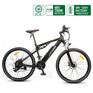 27.5″ E-Bike Full Suspension Electric Moutain Bike 48V 750W with 48V Battery